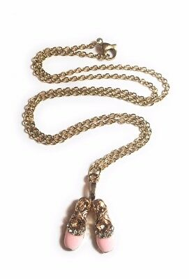 Gold and pink ballet shoes charm necklace with gold plated chain in gift box