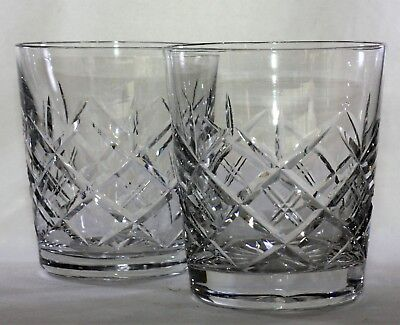 Stunning Pair Unsigned Lead Crystal Cut Glass Whisky Tumblers - 275 ml