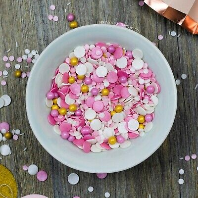 Pink White & Gold Princess Mix Sugar Sprinkles Cupcake / Cake Decorations