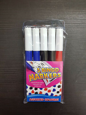 Pack of 5 Novelty Bingo Dabbers Marker Pens - Non Drip Ink NEW SEALED