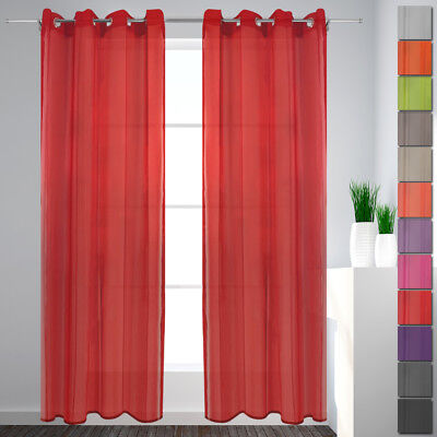 Eyelet Curtain Voilage Set of Two 135x240 Decorative Dish Window Scarf
