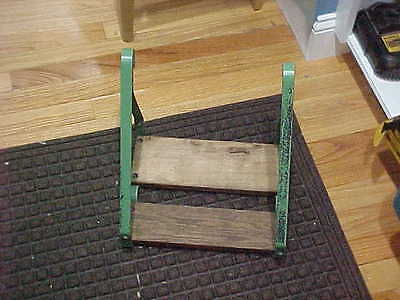 Vintage Safe T Step Metal Wood Garden Shelf Green Paint Repurpose Chic