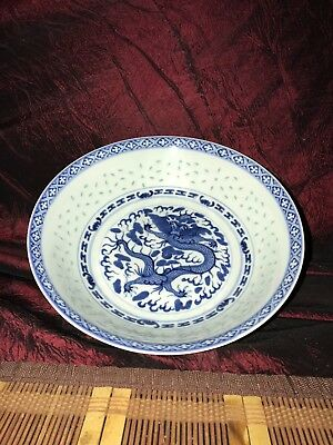 Early 1900s Asian Porcelain Blue & White Translucent Rice Pattern Bowl w/ Dragon