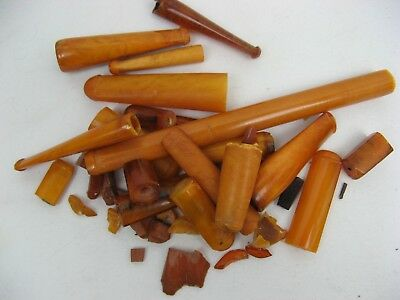 Small Collection of Damaged Amber Pipe Stems for Scrap / Beads 115g