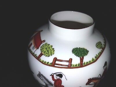 Staffordshire Fine Bone China England Crown  Est. 1801 Hunting Scene- Pot/vase