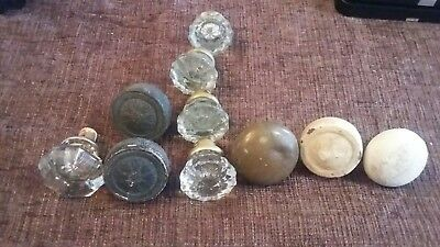 antique vintage door knob lot glass, metal, ceramic & more steampunk, restore,