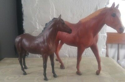 "Pair of Vintage Breyer Horses, Dk Brown 7"" Tall & Lt Brown 8"" Tall"