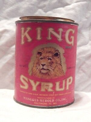"Rare Vintage King Syrup Tin With Lid-Baltimore MD-2 Lb. 8oz.""Swing To King"""