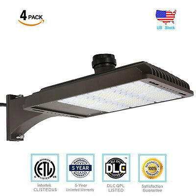 4 Pack185W Parking Lot Weatherpoof Area Lighting Fixture 22200lm Arm Mounted DLC