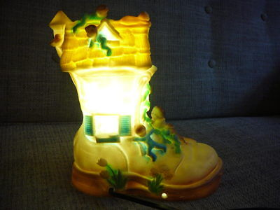 VINTAGE 60s NURSERY RHYME Shoe Boot NIGHT LAMP LIGHT Childs Childrens Baby