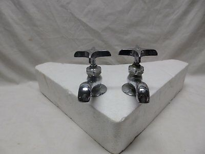 Antique Pr Chrome Separate Hot Cold Deck Mount Sink Faucet Plumbing Vtg 381-18P