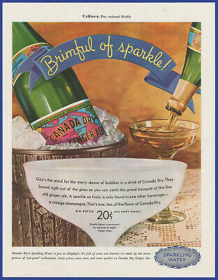 Vintage 1934 CANADA DRY Ginger Ale Sparkling Water Club Soda Print Ad 1930's