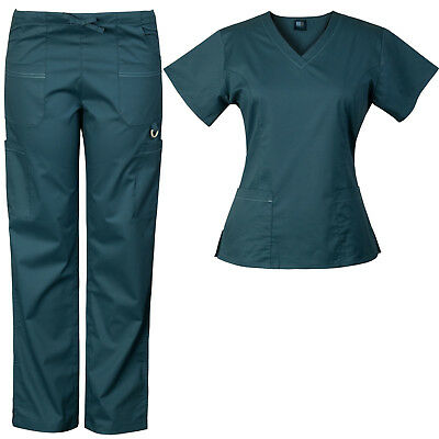 Medgear Women's Solid Scrubs Set Eversoft 2-way Stretch Fabric 7895ST