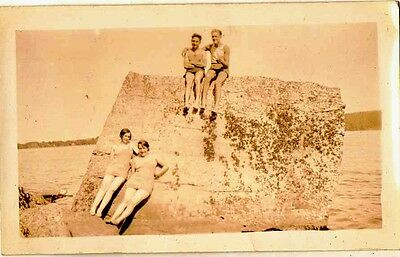 Old Vintage Antique Photograph People Sitting On Huge Rock by Water