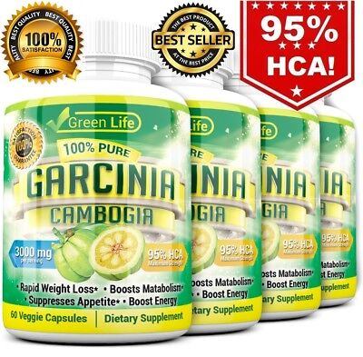 4 x BOTTLES 240 Capsules 3000mg Daily GARCINIA CAMBOGIA HCA 95% Weight Loss Diet