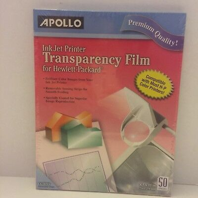 Apollo Ink Jet Printer Transparency Film with Removable Stripe 50 Sheets