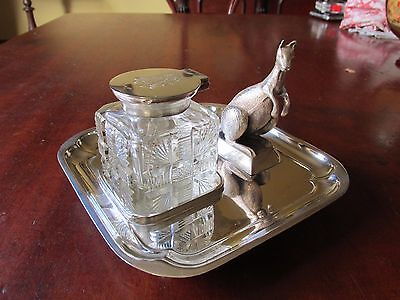 Superb Antique Desk Top Silver Plate Ink Well and Stand with Figural Kangaroo