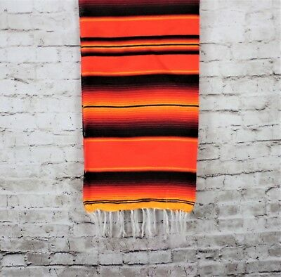 Orange Sarape Serape Mexican Blanket Saltillo Southwestern 5' x 7' Yoga Throw
