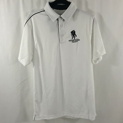 7b0d8804 NEW NWT UNDER ARMOUR Wounded Warrior Project Mens White Polo Shirt SmalHEAT  GEAR