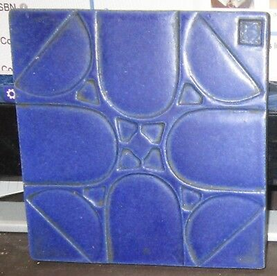 Very nice antique blue Arts and Crafts art tile circa 1920