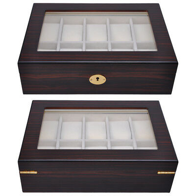 24 GRID Slot Watch Jewelry Display Case Organizer Gift Box PU