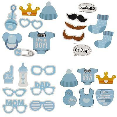 HK 25 Pcs Baby Shower Photo Booth Props Little Boy New Born Party in Blue
