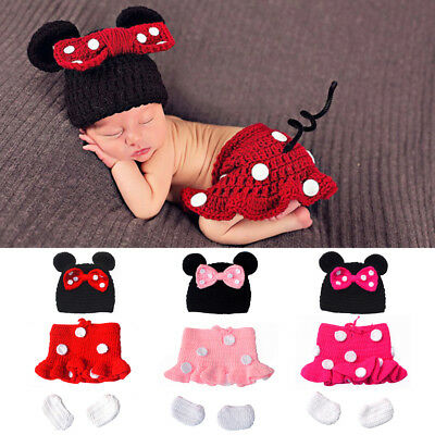 Newborn Baby Girl Minnie Mouse Costume Crochet Knitted Photography Prop Outfits