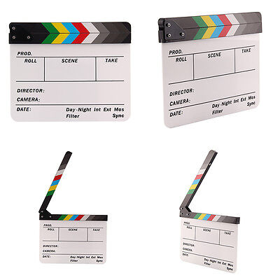 Acrylic Clap Clapper Board 30x24CM Scene Slate Clapperboard Film Movie Action