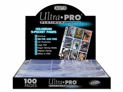 100x Ultra Pro Platinum- Trading Card 9 Pocket Sleeves- Pokemon AFL YuGiOh Magic