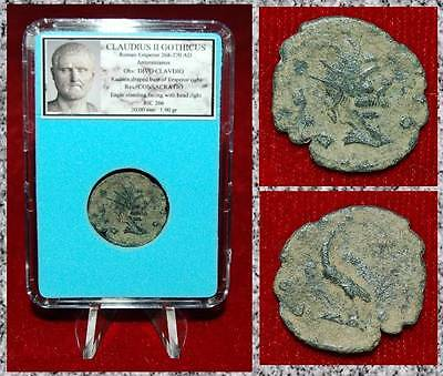 Ancient Roman Empire Coin Of CLAUDIUS GOTHICUS CONSACRATIO Eagle Standing!