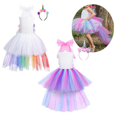 Girls Tutu Dress Princess Animal Hair Hoop Set Mesh Wedding Cosplay Child Outfit