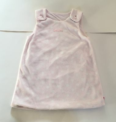 Mothercare baby girl pale pink white spotty fleece winter dress 9 12 months EUC