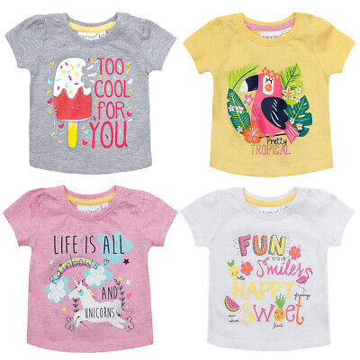 MiniKidz Baby Girls Printed T-Shirts Cotton Rich Novelty Summer Tops Ages 0-24m