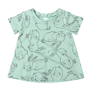 Girls 000 00 0 1 Mint Silver Glitter Bunny Print Soft Cotton SS Swing Top