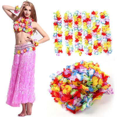 Pack of 24/50 Lei Flower Garlands Necklace Hawaiian Tropical Beach Party Dress