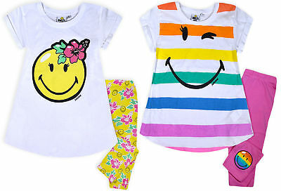 Girls New Smiley World Set Kids 2 Piece Summer Outfit Top Leggings Age 6 - 12 Yr