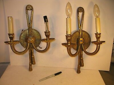 Pair (2) Regency French Style Wall Sconce Vintage Antique Brass Lights 15""