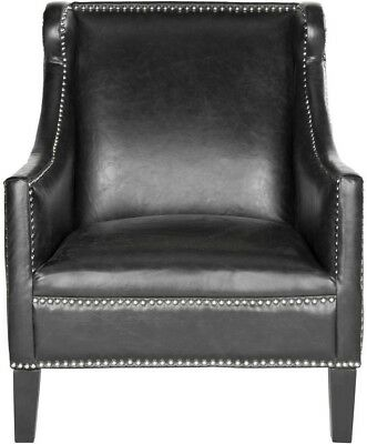 Miraculous Arm Chair Wood Frame Faux Leather Upholstered Antique Black Inzonedesignstudio Interior Chair Design Inzonedesignstudiocom