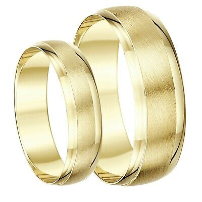 9 Ct Or Jaune His & Hers Designed BAGUE MARIAGE BANDEAU 4 & 6mm 5 & 7 mm