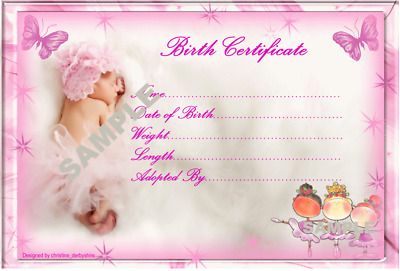 PRETTY PINK BABY BIRTH CERTIFICATE/CERTIFICATES 4 REBORN FAKE BABY Approx  ...