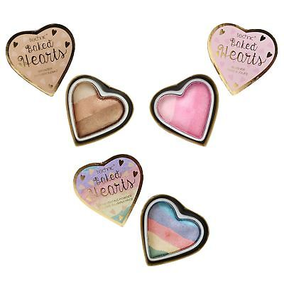 Technic Baked Hearts Blusher Bronzer Rainbow Highlighting Face Powder Trios