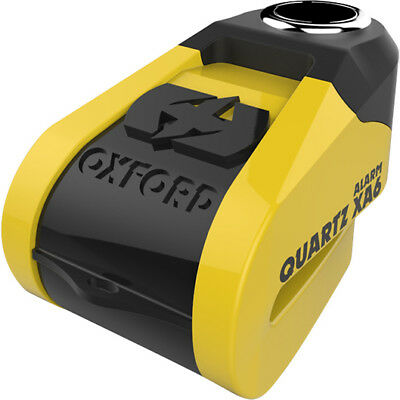 Oxford Quartz XA6 Alarm Disc Lock (6mm pin) Yellow/Black Motorcycle Security