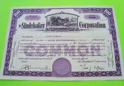 rare 1935 STUDEBAKER STOCK CERTIFICATE Purple 100 Shares ORIGINAL Cancelled XLNT