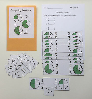 Teacher Made Math Center Educational Learning Resource Game Comparing Fractions