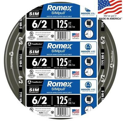 Southwire 28894402 Romex SIMpull 125-Ft 6/2 Non-Metallic Wire (By-The-Roll) NEW