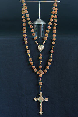 19THC Superb large French Lourdes Rosary hand carved corozo bronze angels heart
