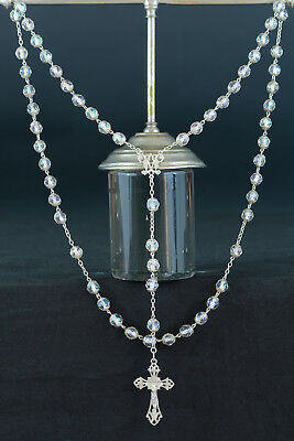 Large elegant Art Nouveau  Rosary sterling silver all caped & clear crystal