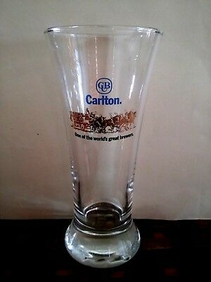 COLLECTABLE Carlton Draught (Gold Horse & Barrel Cart) BEER GLASS 285ml AS NEW