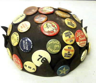 1950's Beanie Cap Very Rare All Original with over 30 Buttons and Badges.