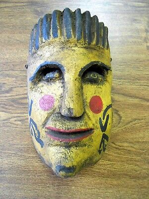 Vintage Orig Hand Carved Dance Mask Central America Mexico Yellow Face Arrows